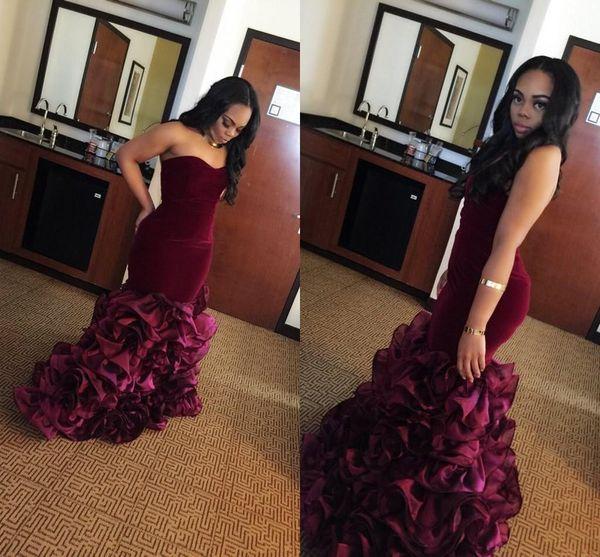 2018 neue burgund lange meerjungfrau prom kleider rose floral blumen tiered schatz samt plus size formale party kleider abendkleid vestios