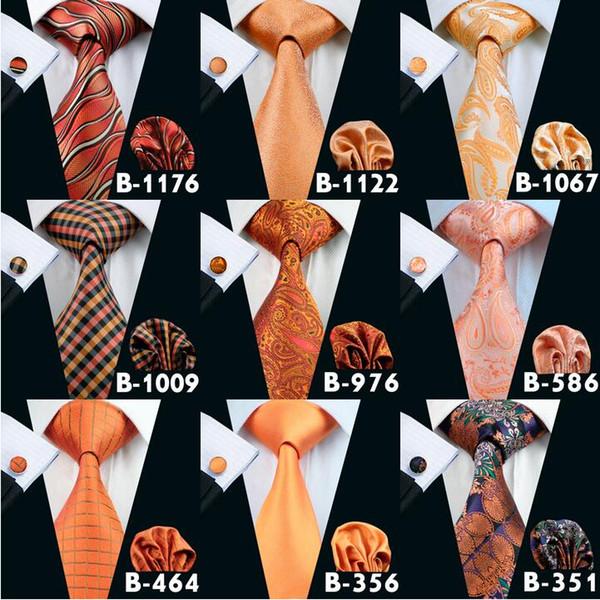 Erkekler Için turuncu Ucuz Kravatlar Marka Kravat Moda Novely Aktif Erkek Boyun Kravat Seti Yüksek Kalite Moda Aksesuarları Kravat Ücr ...