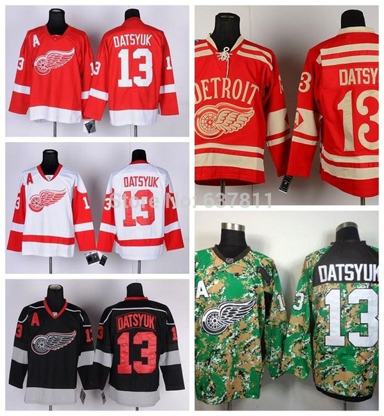 Cheap Detroit Red Wings Hockey Jerseys #13 Pavel Datsyuk Jersey Home Red White 2014 Camo Black Ice Mens Stitched Jerseys A Patch