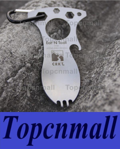 Wholesale - New Eat N Tool Spork Bottle Opener 9100C Carry Carabiner for camping Tool Free Shipping TPML-8692
