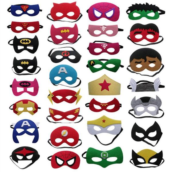 Felt SUPERHERO MASK Superman Batman Spiderman Hulk Thor IronMan Flash Captain America Wolverine Halloween Party Costumes for Kids