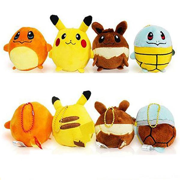 Hot New Poke Pikachu Squirtle Charmander Plush Key Rings Cartoon Figure Handbag Car Cell Phone Pendant Keychain Stuffed Doll Toys Gifts