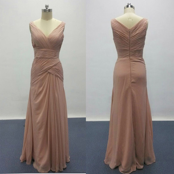 best selling 2017 New Real Pictures Dusty Pink Bridesmaid Dresses for Elegant Wedding V Neck Ruffle Design Woman Formal Prom Gowns