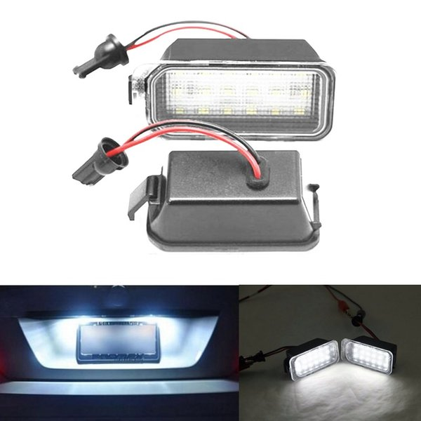 2x Error Free 18 White Car styling led Rear License Plate light For Ford Fiesta JA8 DA3 Focus S-max C-max Mondeo Kuga Auto Lamp