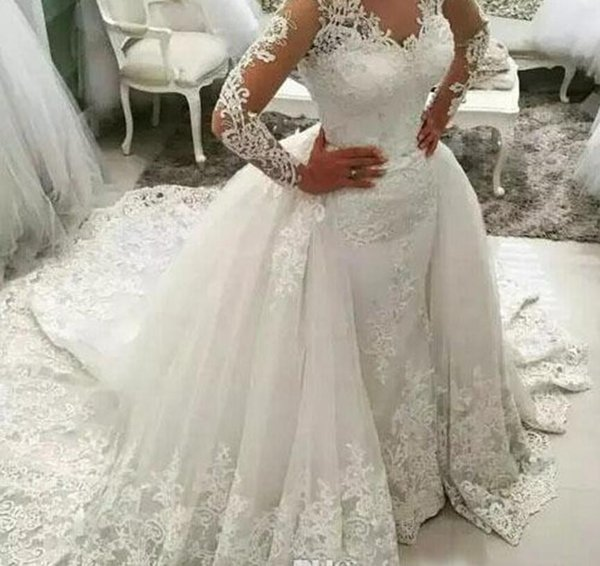 Cheap Luxury Applique Lace Mermaid Wedding Dresses Modern