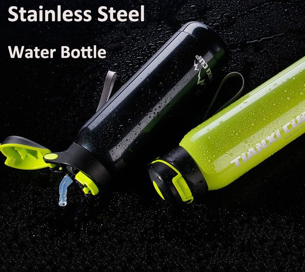 2017 Hot Bicycle Stainless Steel Water Bottle Vacuum Insulation Sport Bottle 500Ml With Straw Bottle Agua For Hiking Camping