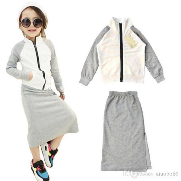 Ärmel Anzug Raglan Freizeit Kleid Neues Bewegung Rock Gemischt Jacke Mädchen Muster Großhandel Seitenschlitz Baumwolle Reißverschluss XZwPkuiTO