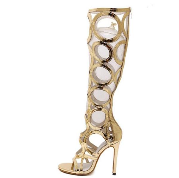 Vogue Gladiator Or Sandales Genou Haut Cool Bottes Femmes Découpes 11cm Sandales À Talons Hauts Femme Chaussures Soirée Tacones