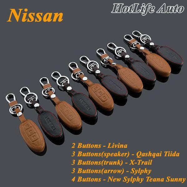 Genuine Leather Car Key Case Cover Smart Remote Control Alloy Car Keychain for Livina Qashqai Tiida X-Trail New Sylphy Teana Key