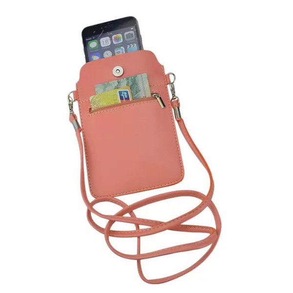 New 7 colors Leather Small Shoulder Crossbody Pouch for iPhone6 6s Plus 5.5inch for Multi Phone Model Holster Case Cover XCT44