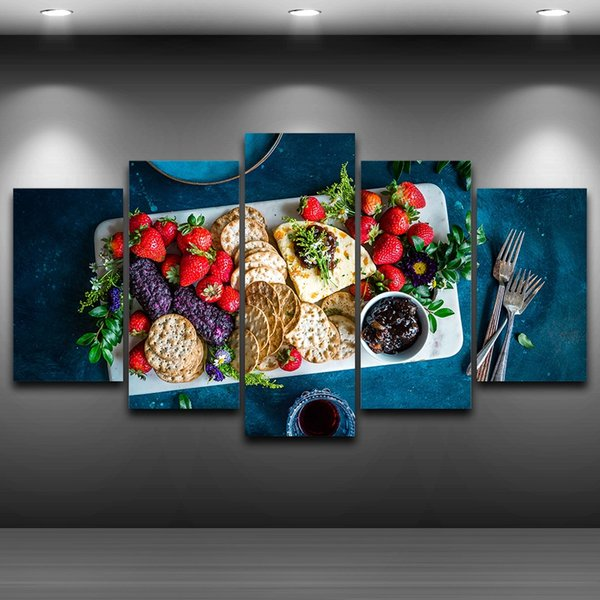 LARGE 60x32 5Panels Art Canvas Print Fruits Foods Biscuits Poster for Kitchen Dining Room Wall Home Decor interior (No Frame)