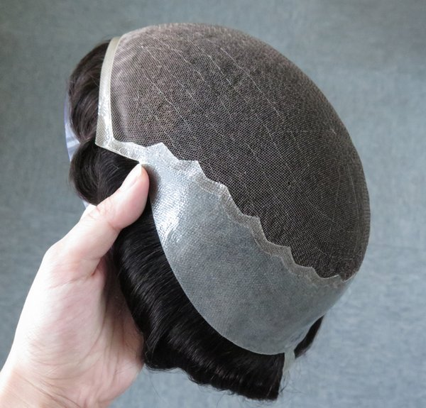 Swiss lace / French lace with skin (Pu) side and back, Q6 base stock hair men toupee ,hair system , replaceme free shipping
