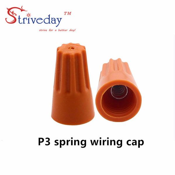 top popular 1000pcs lot NEW P3 Electrical Wire Twist Nut Connector Terminals Cap Spring Insert Assortment Color Orange 2021