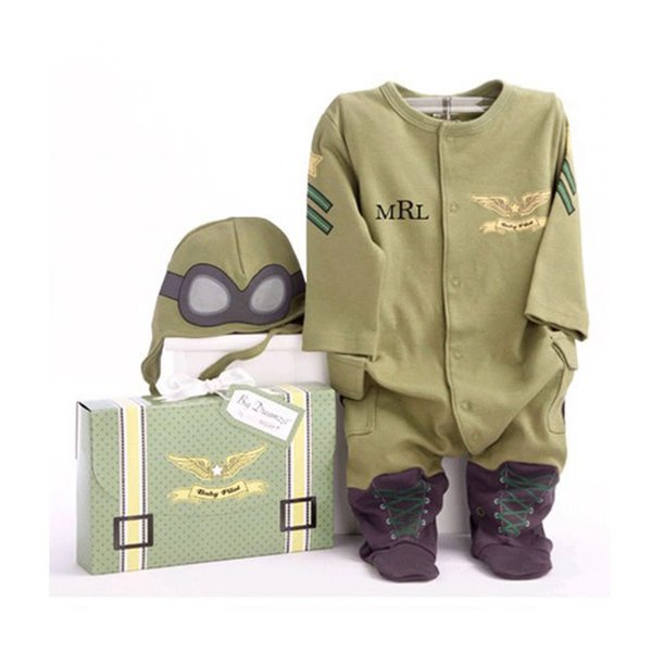 Autumn Baby Boys Romper Clothing Costume Christmas Long Sleeve Green Cotton Jumpsuit+Hat 2 Piece For Toddler Infant Clothes
