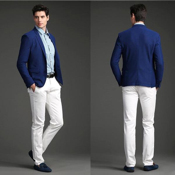 2017 Custom Made Royal Blue Jacket White Pants Wedding Suit Groom ...
