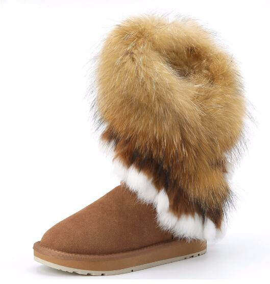 d0211656b8201 Fashion Natural Fox Fur Cow Suede Leather Womans Winter Snow Boots For  Women Winter Shoes Rabbit Fur Tassels High Quality Motorcycle Boots  Military ...