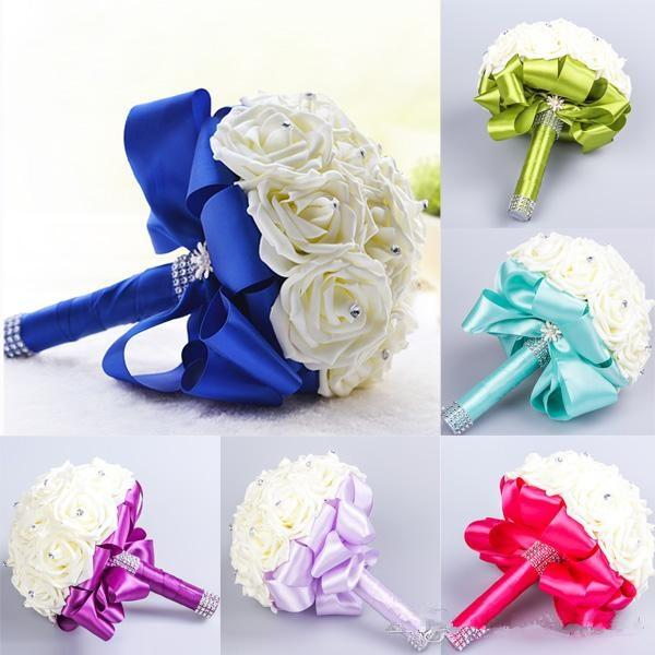 2016 Elegant Rose Artificial Bridal Flowers Bride Bouquet Wedding Bouquet Crystal Royal Blue Silk Ribbon New Buque De Noiva 6 Colors