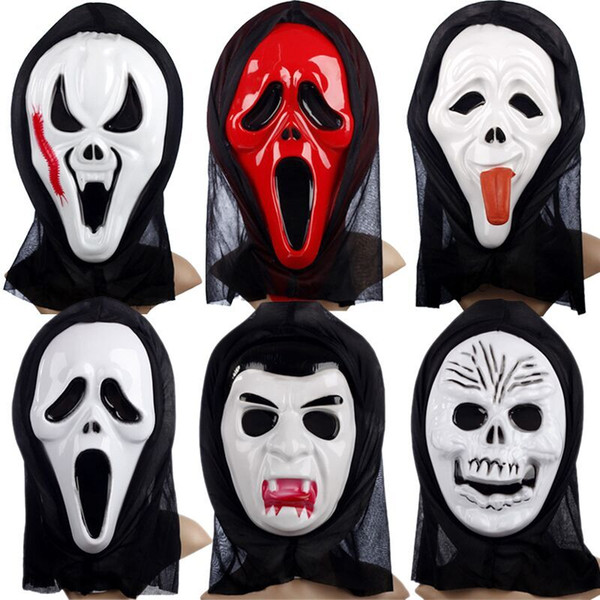 Halloween Mask Ghost Mask Terrorist Mask Hooded Devil Mask Screaming Funny Scary Face Skeleton Mask Free shipping