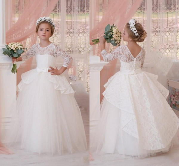 White Ball Gown Mini Wedding Dresses 2017 Lace Long Sleeve Ruched Peplum Flower Girl Dresses Flower Length Children Prom Party Gowns