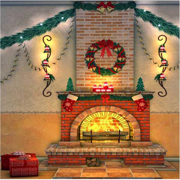Brick Fireplace Christmas Background Vintage Computer Printed Home Decors Garland Family Gift New Year Holiday Photography Backdrops Vinyl