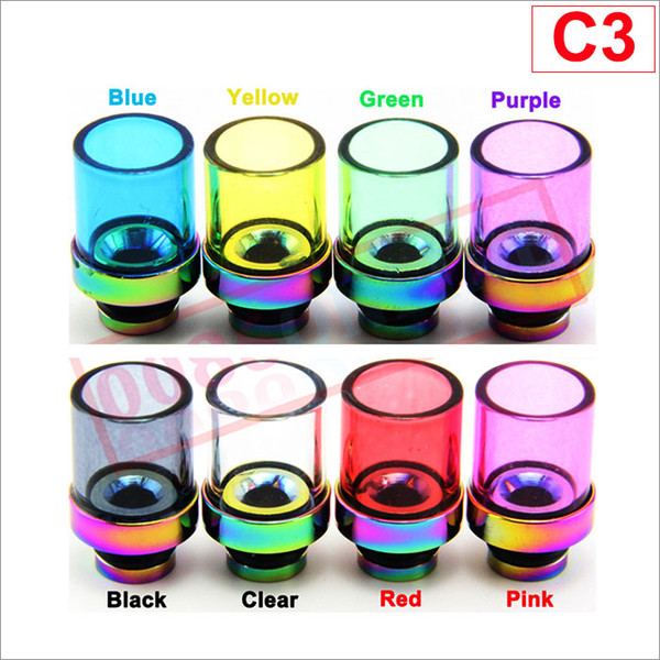 best selling Pyrex Glass 510 drip tips with Stainless Steel wide color 510 Mouthpiece for E Cigarette Atomizer DCT Protank chi you trident atty tank