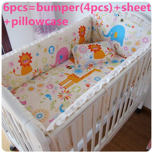 Promotion! 6PCS Strawberry girl,Baby Cot Crib Bedding set Baby Sheet Crib Bumpers (bumpers+sheet+pillow cover)