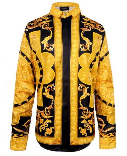 best selling New men brand shirts runway look print long sleeve plus size 3d dress shirt designer luxury shirts men's clothing