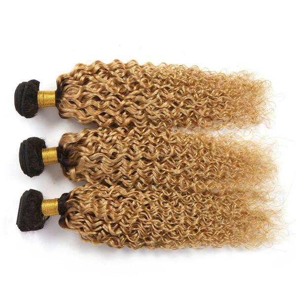 #1B/27 Dark roots Honey Blonde Ombre Hair Deep Curly Malaysian Hair Bundles Two Tone Malaysian Curly Hair Weaves 3Pcs Lot