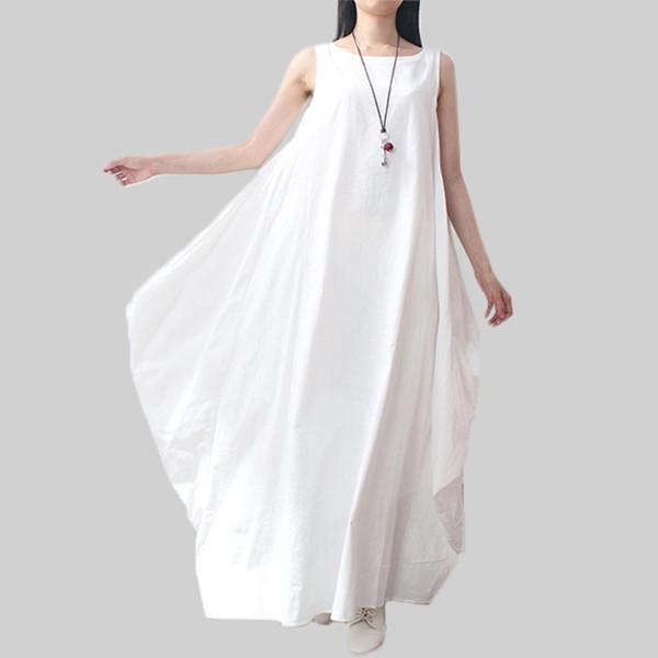 Vestido de verão mulheres dress elegante solto mangas o pescoço dress linho de algodão boho longo maxi vestidos vestidos plus size