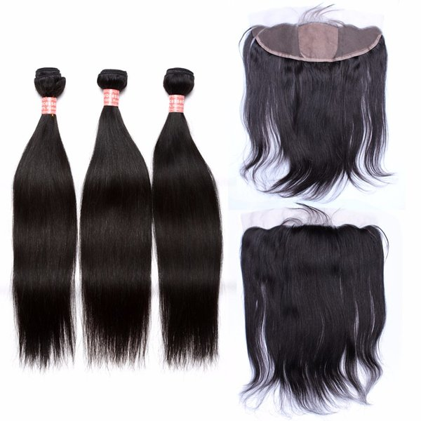 Virgin Indian Human Hair Silk Base Lace Frontal Closure 13x4 With Straight Hair 4Pcs Lot Indian Silky Straight 3Bundles With Frontals