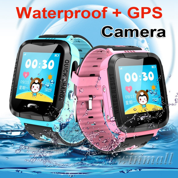 IP67 Waterproof V6G Swimming Smart Watch GPS Tracker Monitor SOS Call with Camera Lighting Baby Smartwatch for Kids Child