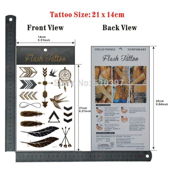 pc/lot/TJ012,Temporary Tattoo Metallic/Feather,Arrow,Swallow/waterproof Gold Flash fake tatoo Sex body art/Christmas gift gift case gift...
