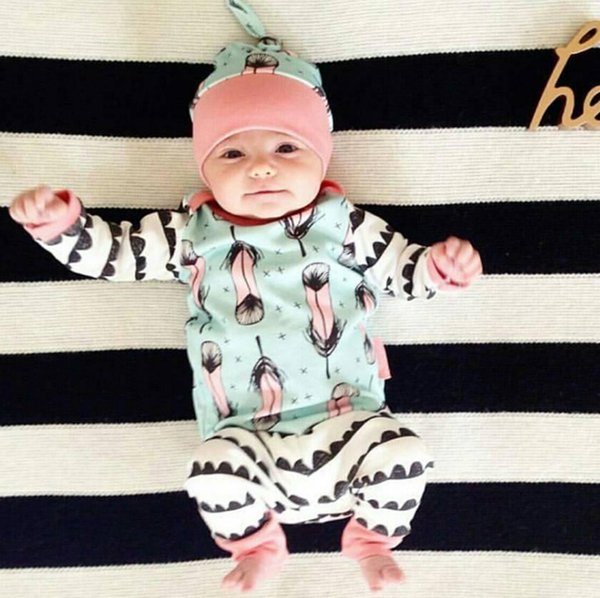 Ins Infant Baby 3pcs Set Kids Long Sleeve Feather Tops T-shirt + Pants + Hat Girls Boys Clothing Suit Children Outfits 12335
