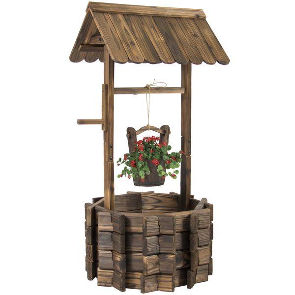 Wooden Wishing Well Bucket Flower Planter Patio Garden Outdoor Home Decor