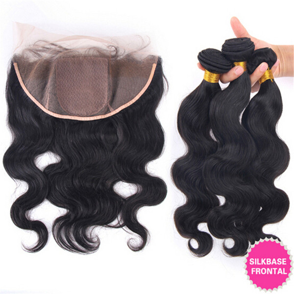 Virgin Brazilian Silk Base Lace Frontal Closure With 3Bundles Body Wave Human Hair Weaves With 13x4 Silk Top Full Lace Frontal 4Pcs Lot