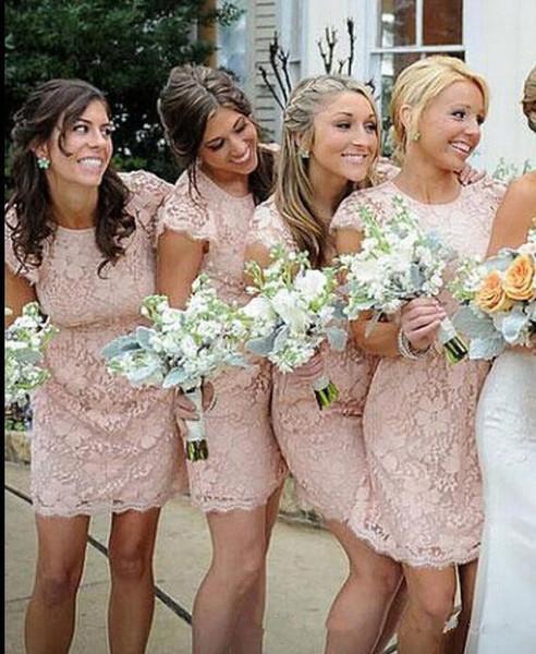 2017 Arabic New Cheap Cap Sleeves Lace Sheath Pearl Pink Bridesmaid Dresses Backless Mini Short Length Summer Wedding Party Prom Dresses