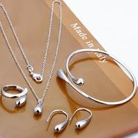 Modeschmuck Sets-S180 / Große Förderung Silber Überzogene Wassertropfen Armbänder und Armreifen Halskette Ringe Ohrringe Für Frau
