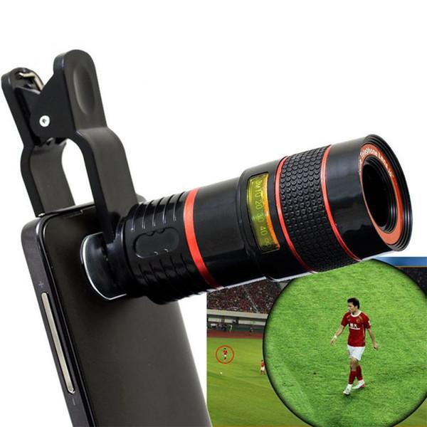 Gros-2016 Chaude 8X Zoom Clip-sur Télescope Caméra Lentille Optique Pour Divers Téléphone portable pour iPhone 6 Pour Samsung Téléphone Intelligent Télescope