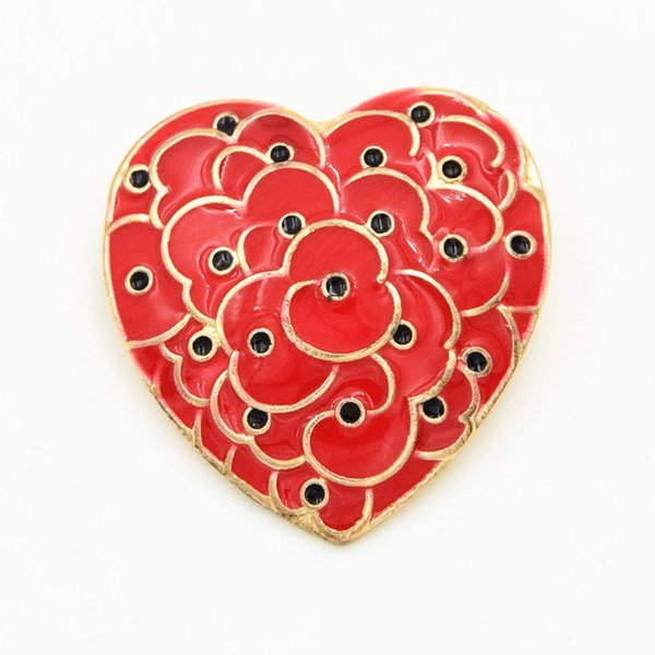 Gold Plated Heart Shaped Poppy Brooch The British Legion Poppy Brooch Pins For UK Remembrance Day Hot Selling Red Poppy Brooch Pins