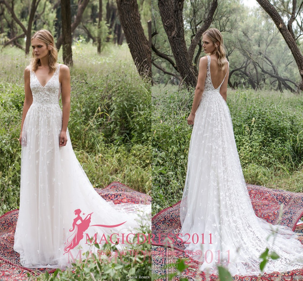 best selling Romantic Limor Rosen 2019 Sheath Wedding Dresses Deep V-Neck Sheer Straps Heavy Embellishment Lace Vintage Garden Beach Bridal Gowns