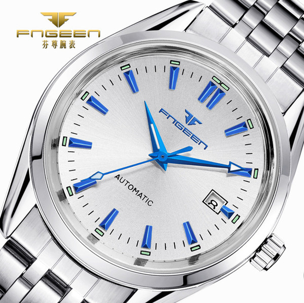 2017 Mens Top Brand Luxury Watches Male Luminous Calendar Waterproof Wrist Watch Stainless Steel Automatic Mechanical Wristwatch Dropshiping