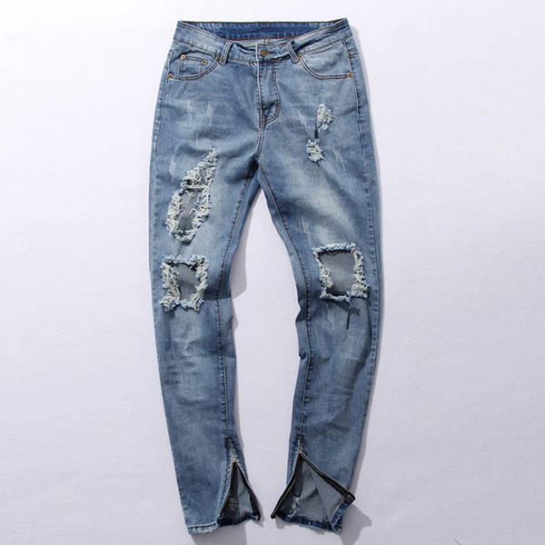 Wholesale-New Hi-Street Men's Blue Ripped Jeans Men Plus Size 30-36 Fashion Male Distressed Skinny Jeans Destroyed Denim Jeans Pants