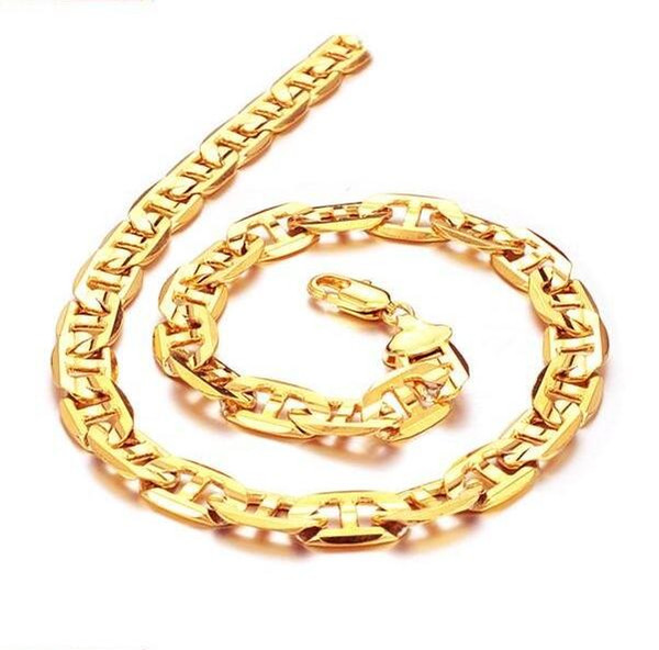 JEWELLERY 18K Gold plated Necklace 9mm wide Link chain For cool men FREE SHIPPING factory price promotion 439
