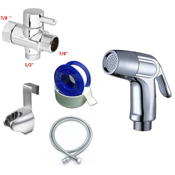 "best selling Chrome ABS Hand Held Bidet Sprayer Bathroom Toilet Set, Toilet Attachment Washer Brass 7 8""T-adapter Kit"