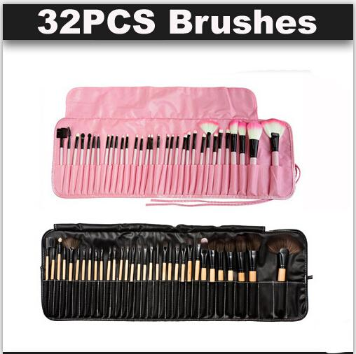32pcs Makeup Brushes Wood pink black mini Set Cosmetic Brush Set Roll Up Case Eyeliner Eyeshadow Brush Makeup Tools DHL