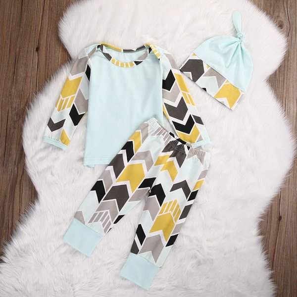 2016 new arrival baby suits Newborn Infant children Girl Boy long sleeve striped Tops T-shirt+Pants+Hat 3pcs Outfits fashion Set top Clothes