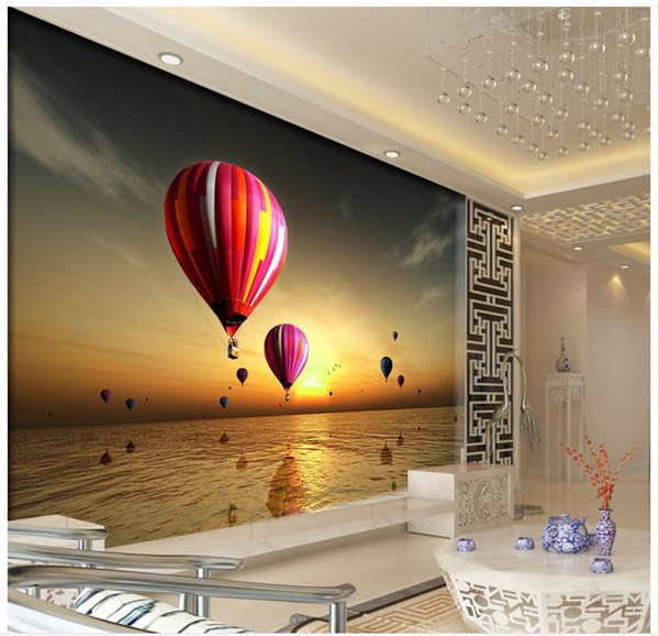 3D photo wallpaper custom 3d wall murals wallpaper mural The setting sun is hot air balloon landscape paintings 3d living room wall decor