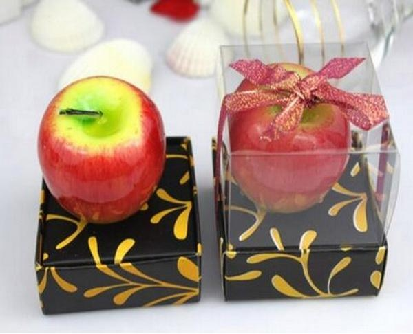 100pcs/lot Red/Green apple Candles Wedding Present Smoke-free Scented Wax Aromatherapy Decoration Wedding Favour Party Gift
