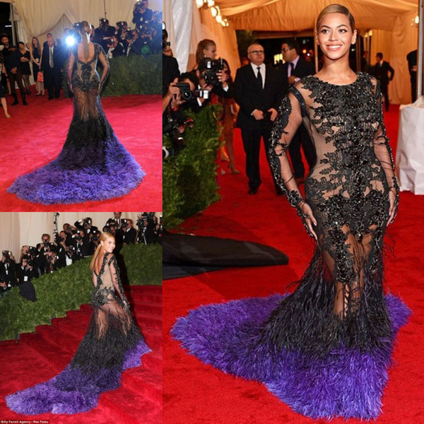 Luxury Feather Mermaid Evening Dresses Long Sleeve Lace Applique Crystal Beyonce Prom Gowns Sweep Train Illusion Formal Red Carpet Dress