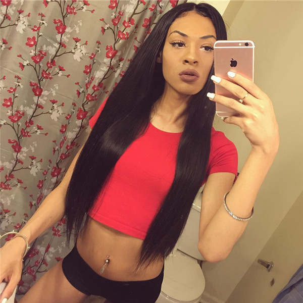 7A Silky Straight Full Lace Wig Indian Virgin Hair Straight Glueless Lace Front Wig Human Hair With Baby Hair For Black Women